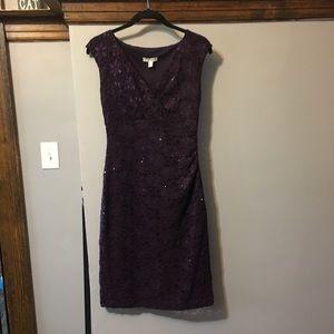 Dress Barn Purple Lace Midi Dress